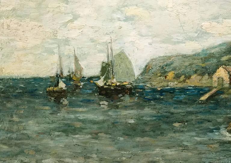 American Paul Bernard King Coastal Marine Oil Painting, Harbor Scene For Sale