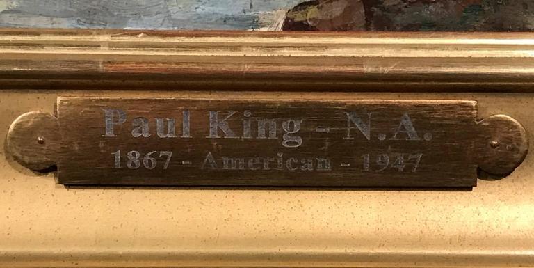 20th Century Paul Bernard King Coastal Marine Oil Painting, Harbor Scene For Sale