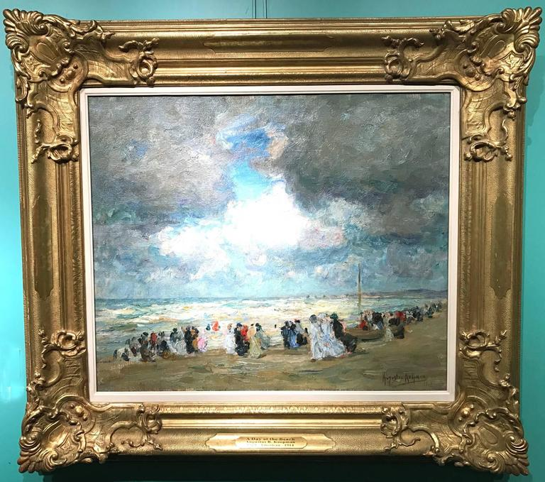 This impressionist oil painting of figures along the beach was done by American artist Augustus B. Koopman (1869-1914). Koopman was born in Charlotte, North Carolina, and spent a large portion of his short life in Paris, studying at the Academie