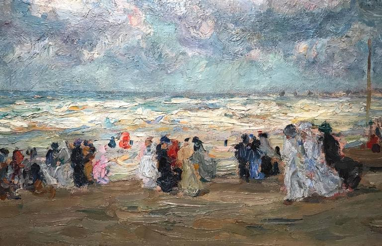 "Augustus B. Koopman Coastal Impressionist Oil Painting ""A Day at the Beach"" 1914 In Excellent Condition For Sale In Milford, NH"