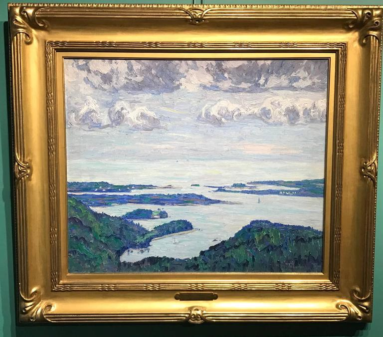 "Professional Guaranteed House Painting Western Springs: Allen Tucker Coastal Landscape Oil Painting, ""Mount Desert"