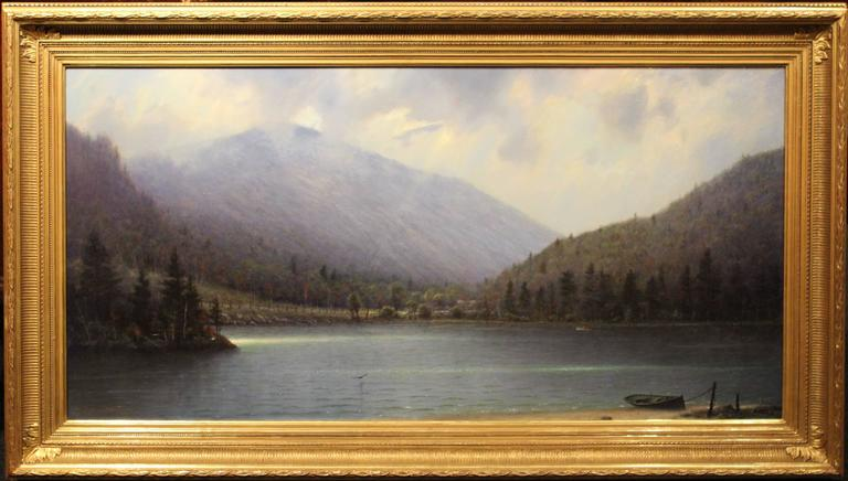 This wonderful White Mountain New Hampshire landscape painting was done by contemporary American artist William R. Davis (1952-). Davis was born in Somerville, Massachusetts, grew up in Hyannis Port, MA and became well-known in New England and