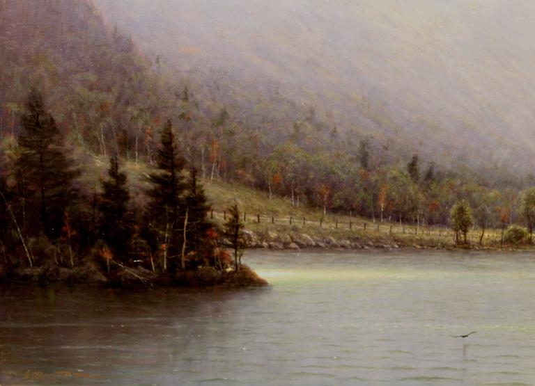 William R. Davis Oil Painting Clearing Storm, Echo Lake, Franconia, NH In Excellent Condition For Sale In Milford, NH