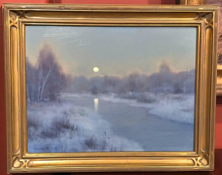 William R. Davis Tonalist Winter Landscape Oil Painting, Frosty Morning 2
