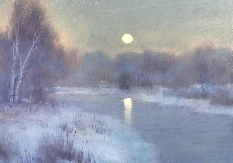 William R. Davis Tonalist Winter Landscape Oil Painting, Frosty Morning 3