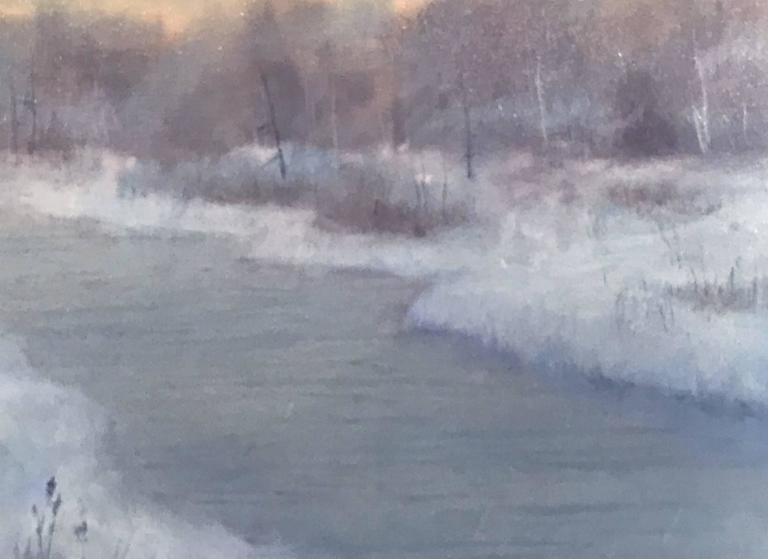 William R. Davis Tonalist Winter Landscape Oil Painting, Frosty Morning In Excellent Condition For Sale In Milford, NH