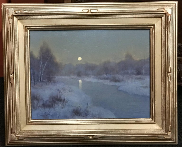 This tonalist winter landscape oil painting was painted by American artist William R. Davis (1952). Davis was born in Somerville, Massachusetts, grew up in Hyannis Port, MA and became well-known in New England and across the country as a self-taught