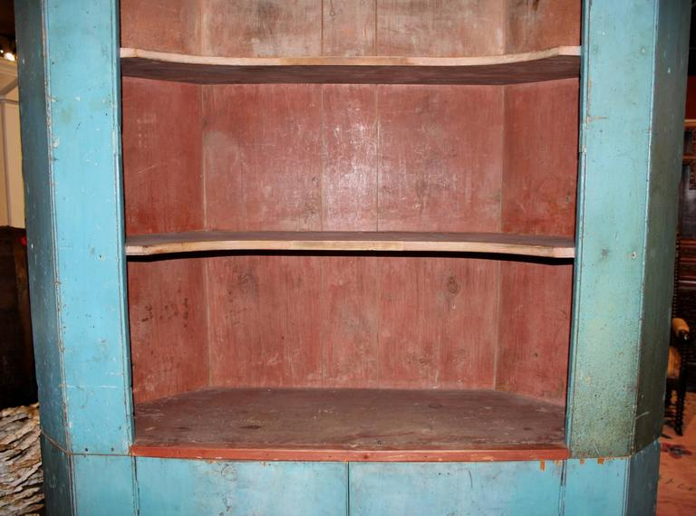 19th Century Two Part Corner Cupboard in Old Blue Paint In Good Condition For Sale In Milford, NH