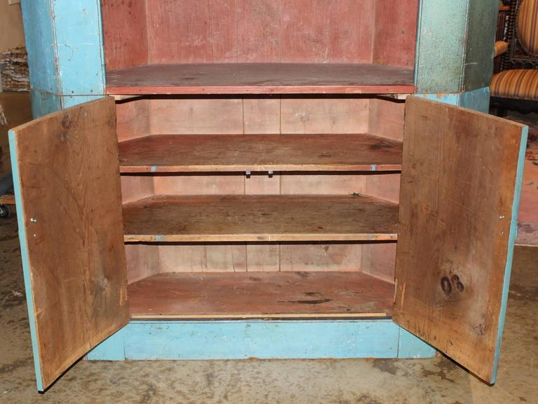 19th Century Two Part Corner Cupboard in Old Blue Paint For Sale 1