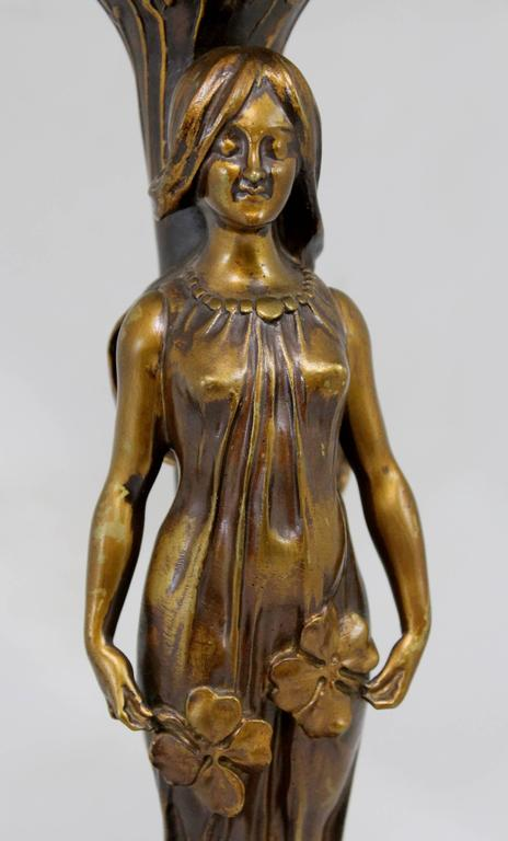 Patinated Paul Louchet Foundry French Bronze Figural Art Nouveau Table Lamp For Sale