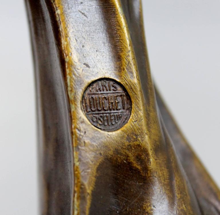 Paul Louchet Foundry French Bronze Figural Art Nouveau Table Lamp For Sale 2