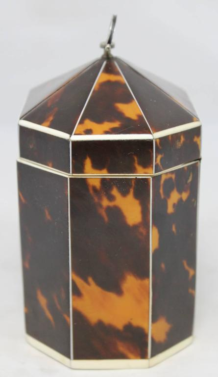 Georgian Exceptional Late 18th Century English Tea Caddy in Tortoiseshell For Sale