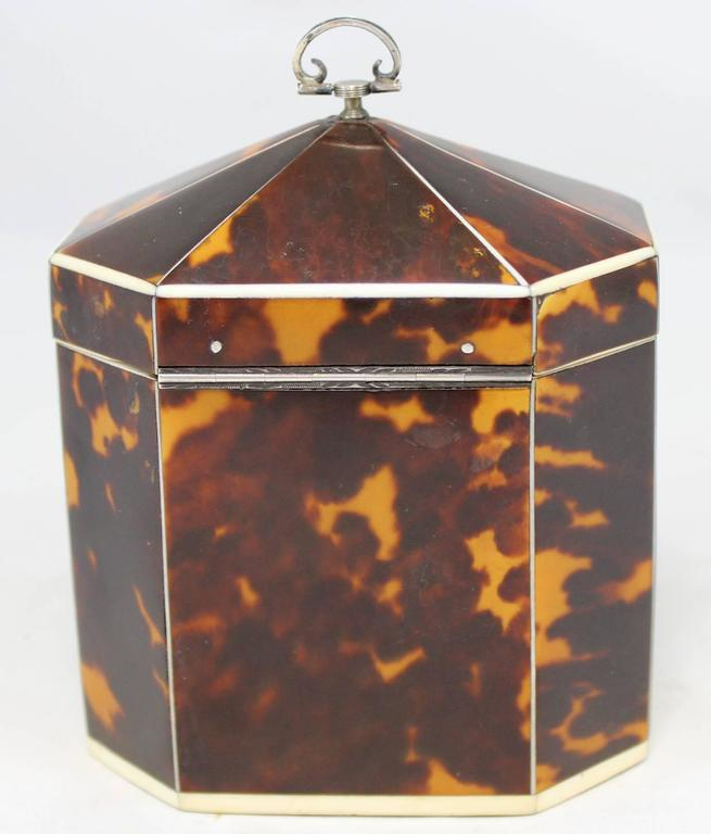 Carved Exceptional Late 18th Century English Tea Caddy in Tortoiseshell For Sale
