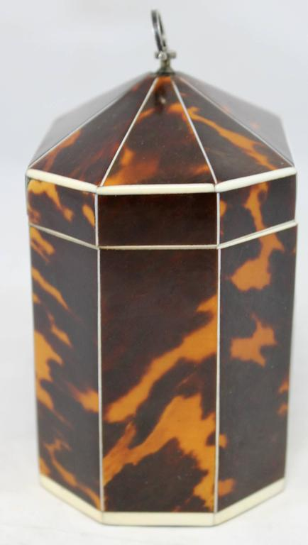 Exceptional Late 18th Century English Tea Caddy in Tortoiseshell In Excellent Condition For Sale In Milford, NH