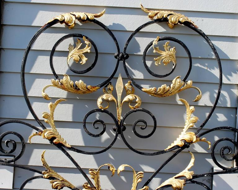Monumental Victorian Style Iron Gate Crest With Gilt