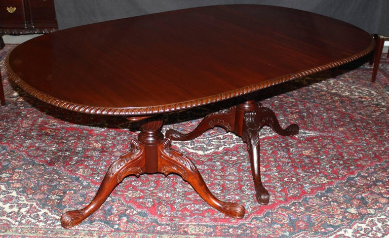 Double Pedestal Mahogany Nicely Carved Dining Table With