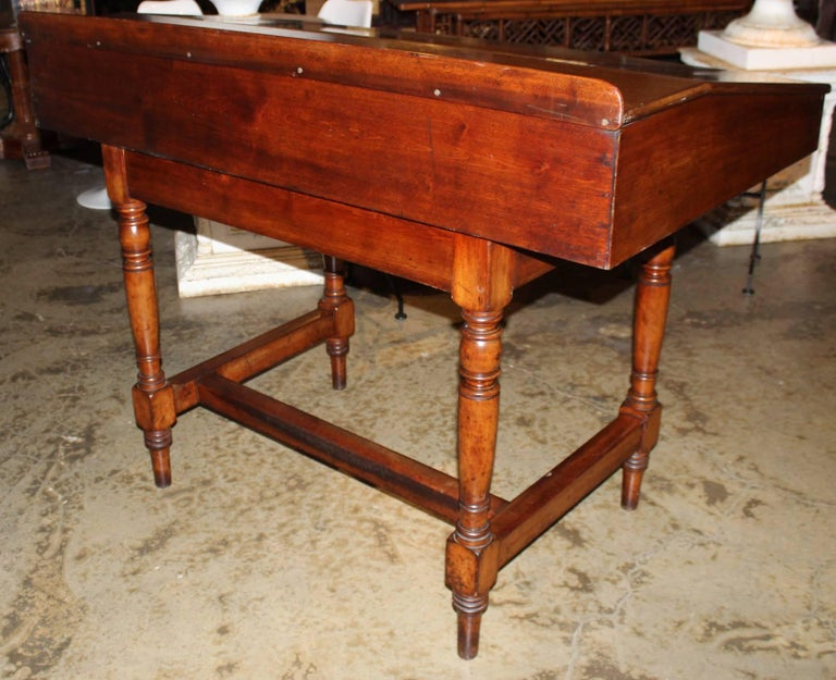 Carved Large 19th Century English Gany Two Part Lift Top Standing Desk For