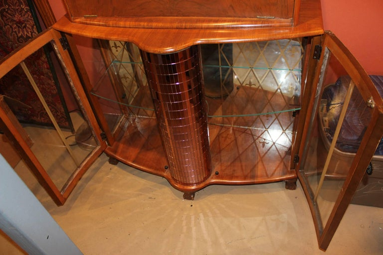 20th Century Fruitwood Art Deco Style or Midcentury Bar with Mirrored Decoration For Sale