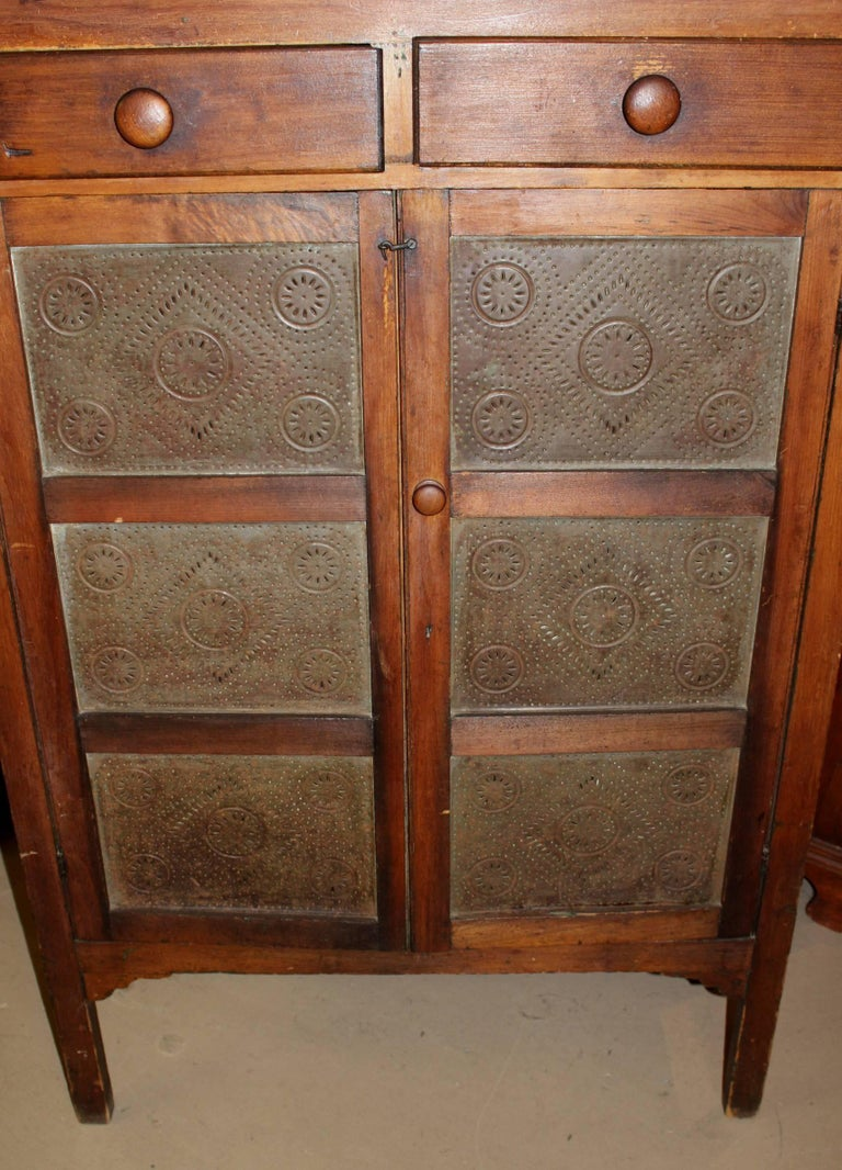 19th Century Pine Country Pie Safe With Punched Tin Panels