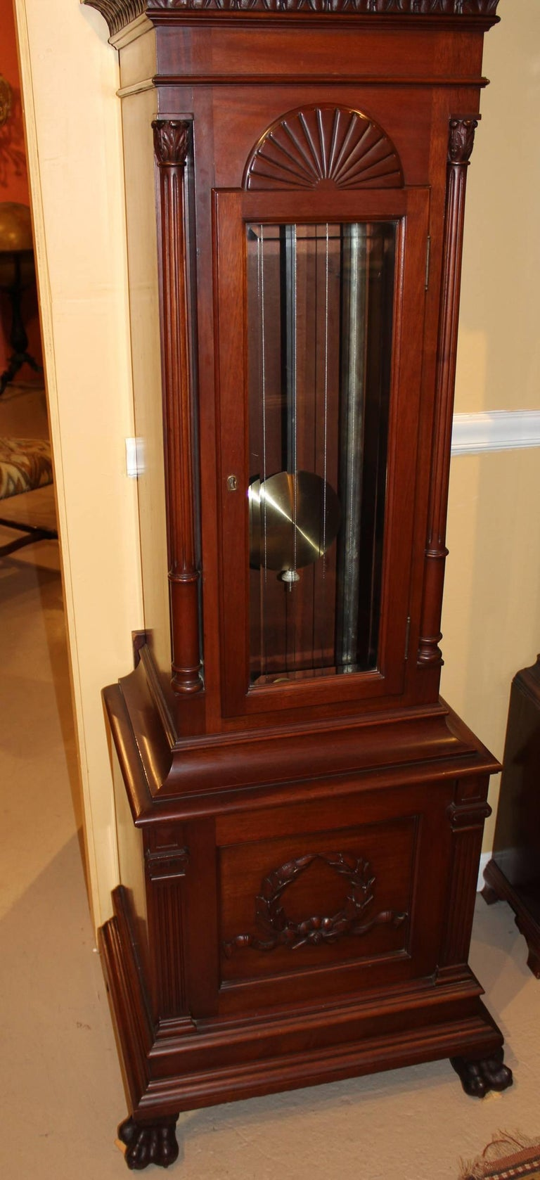 American Exceptional Smith Patterson & Co Boston Mahogany Tall Clock with Moon Phase Dial For Sale