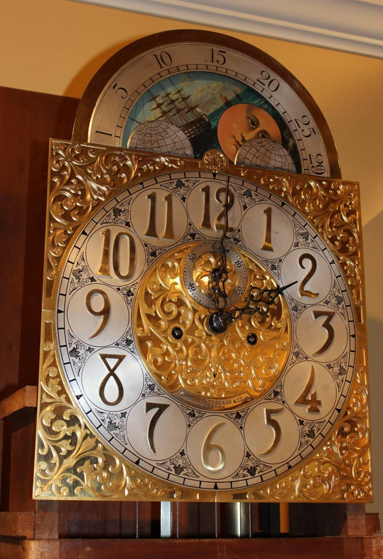 Hand-Carved Exceptional Smith Patterson & Co Boston Mahogany Tall Clock with Moon Phase Dial For Sale