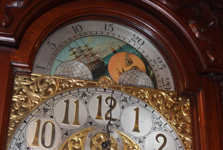 Exceptional Smith Patterson & Co Boston Mahogany Tall Clock with Moon Phase Dial In Excellent Condition For Sale In Milford, NH