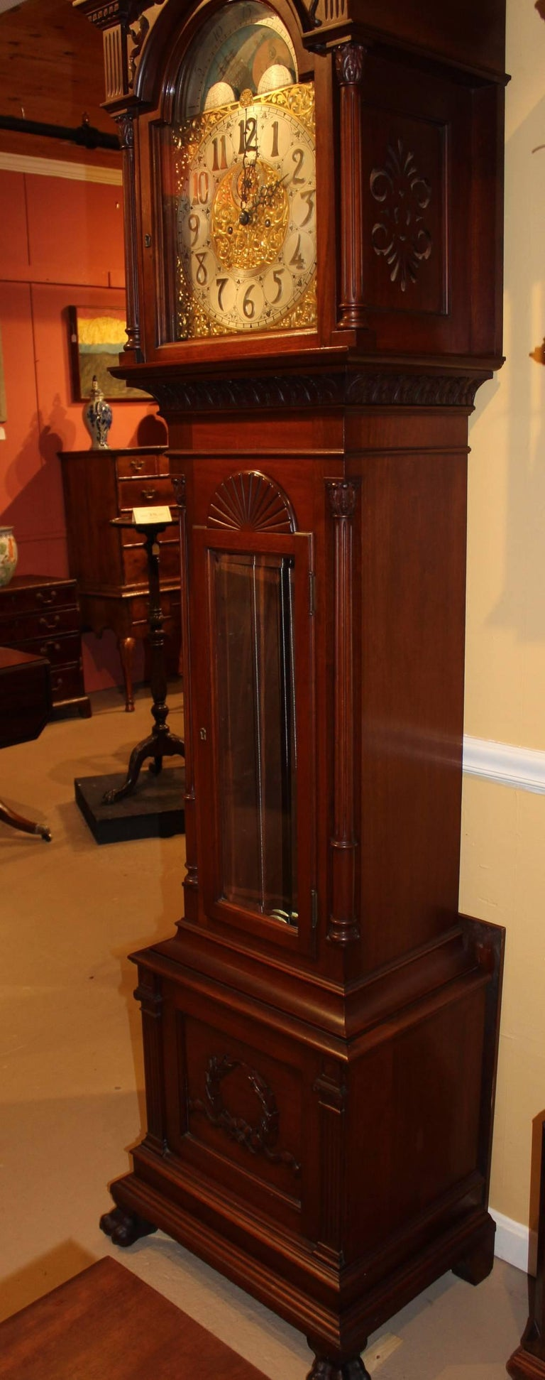 20th Century Exceptional Smith Patterson & Co Boston Mahogany Tall Clock with Moon Phase Dial For Sale