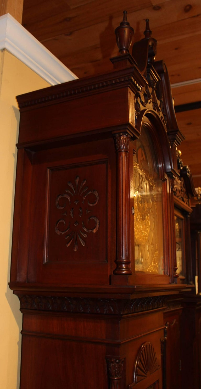 Brass Exceptional Smith Patterson & Co Boston Mahogany Tall Clock with Moon Phase Dial For Sale