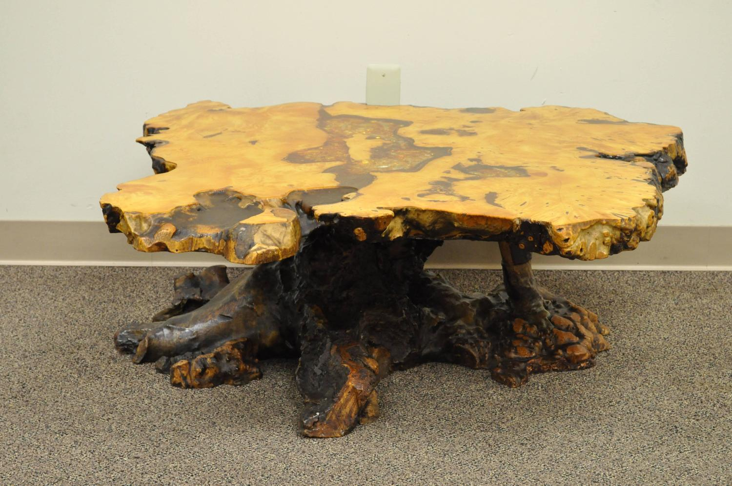 An Original Star Dust Burlwood Co California Redwood Free Form Coffee Table For Sale At 1stdibs