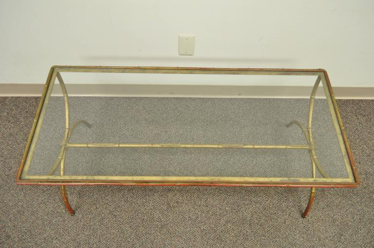 20th Century Vintage 1940s Italian Gold Gilt Iron Hollywood Regency Faux Bamboo Coffee Table For Sale