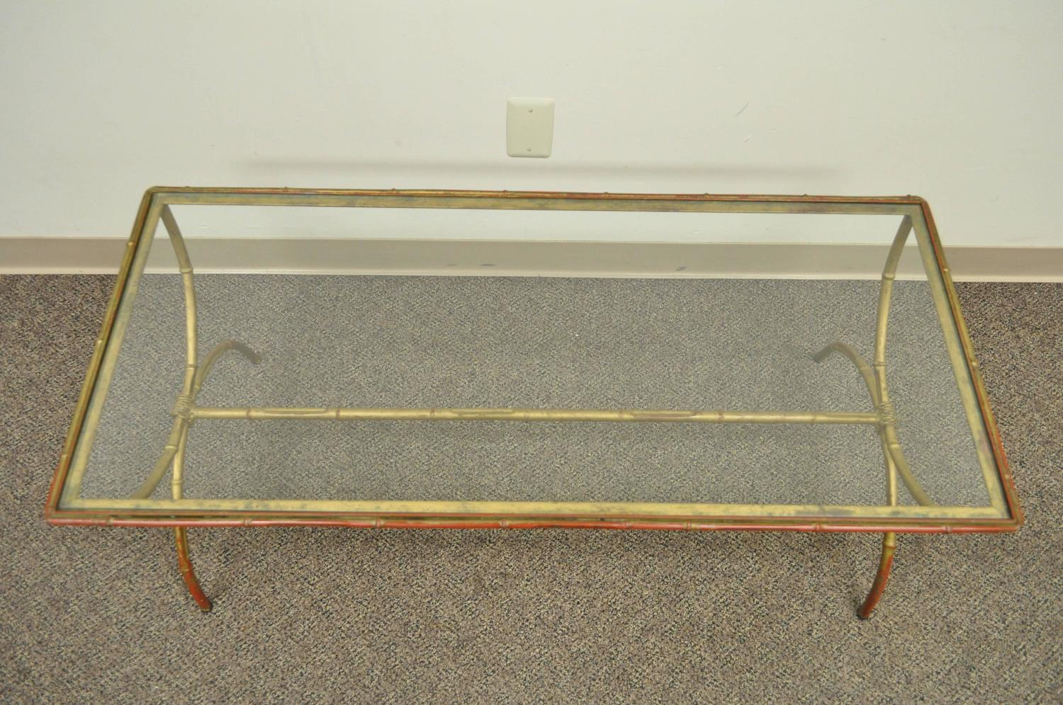 Vintage 1940s Italian Gold Gilt Iron Hollywood Regency Faux Bamboo Coffee Table For Sale At 1stdibs