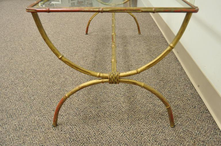 Vintage 1940s Italian Gold Gilt Iron Hollywood Regency Faux Bamboo Coffee Table For Sale 3