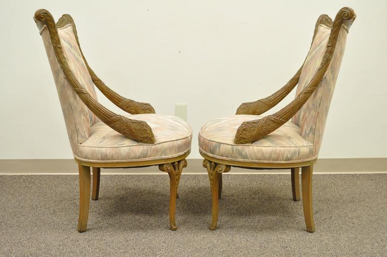 Great Pair Of Vintage Hollywood Regency Carved Mahogany Parlor Chairs  Attributed To Grosfeld House. The