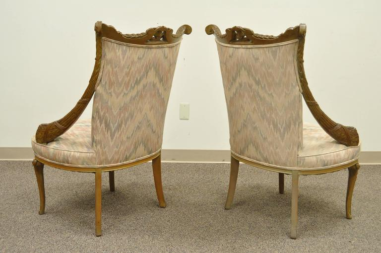 Pair 1940s Hollywood Regency Carved Parlor Chairs Attributed to Grosfeld House For Sale 3