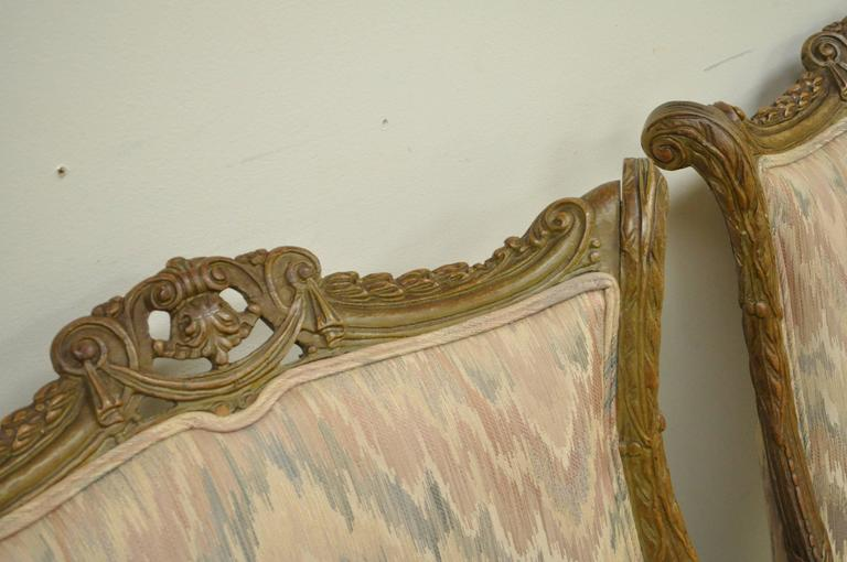 Pair 1940s Hollywood Regency Carved Parlor Chairs Attributed to Grosfeld House For Sale 1
