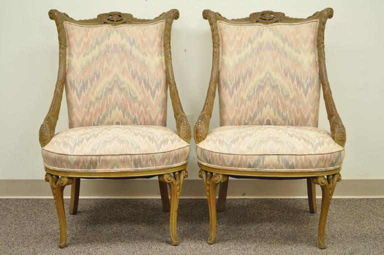 Pair 1940s Hollywood Regency Carved Parlor Chairs Attributed to Grosfeld House For Sale 4