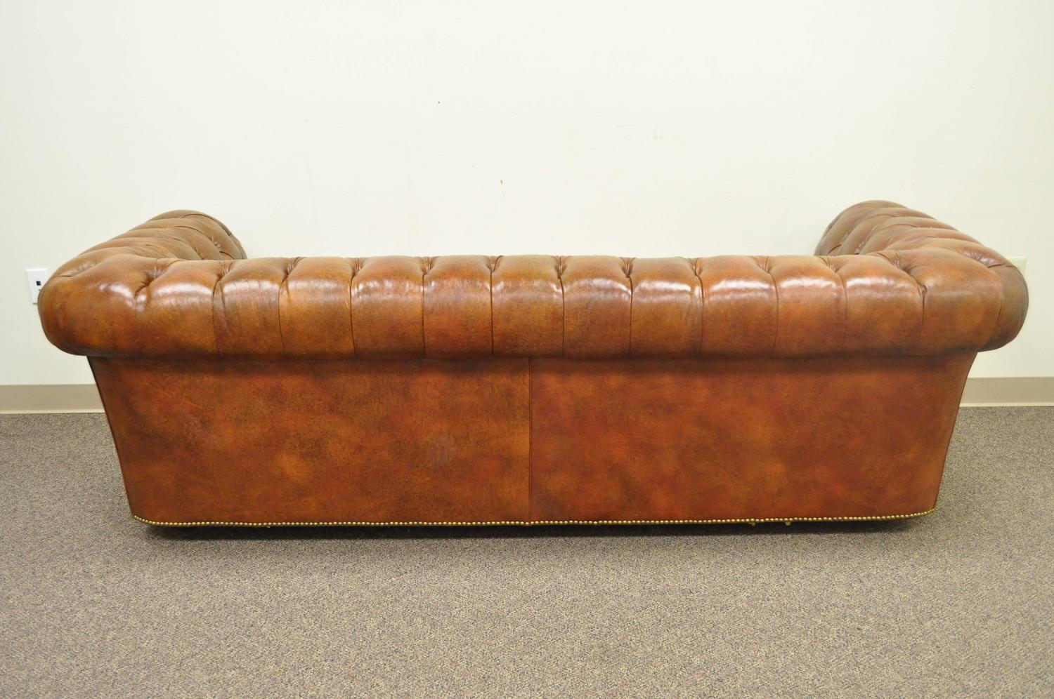 Henredon rolled arm english style button tufted brown for Tan couches for sale