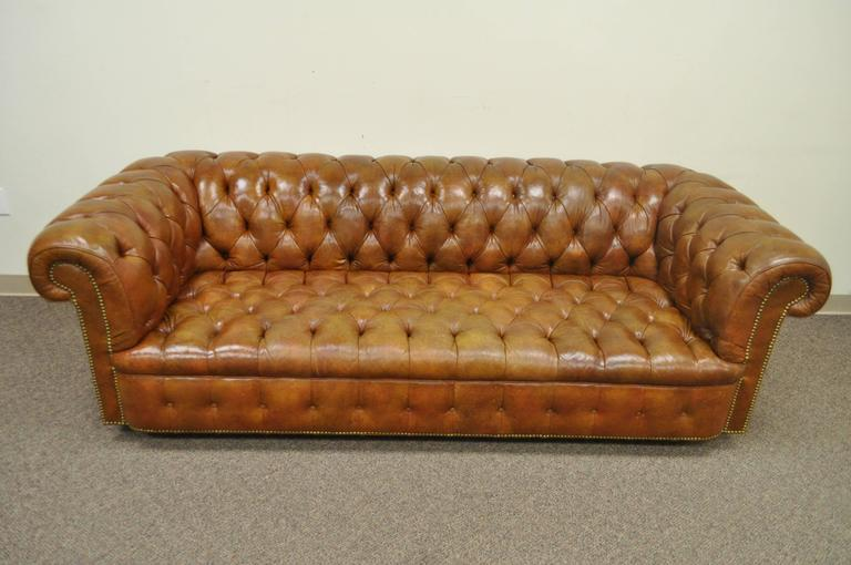 rolled arm style button tufted brown leather chesterfield sofa for sale ebay white bed north carolina