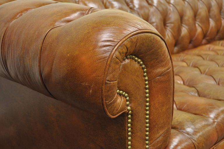 Henredon Rolled Arm English Style Button Tufted Brown Leather Chesterfield Sofa At 1stdibs