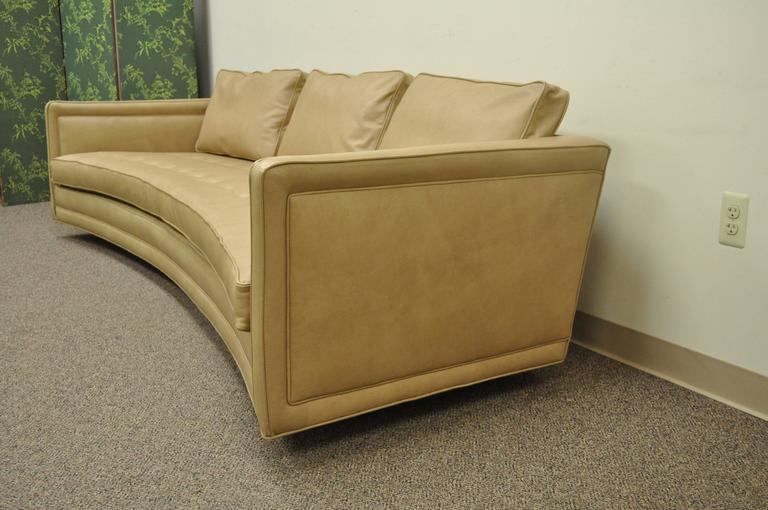 American Long Curved Harvey Probber Button Tufted Leather Mid Century  Modern Sofa For Sale
