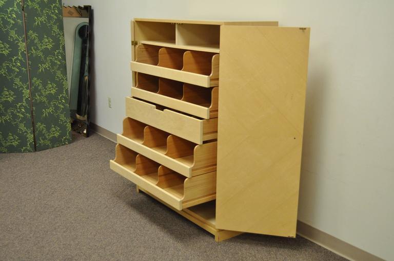 Mid-Century Modern Tommi Parzinger for Parzinger Originals Bleached Elm Armoire or Wardrobe Cabinet For Sale