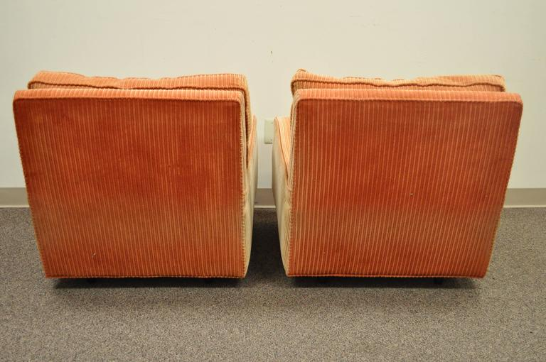 Fabric Pair of Mid-Century Modern Milo Baughman Upholstered Sculpted Club Lounge Chairs For Sale