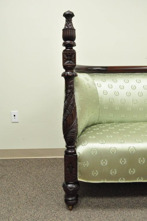 Mid-19th Century 19th Century American Empire Curved Back Sofa Carved Solid Mahogany Pineapple For Sale