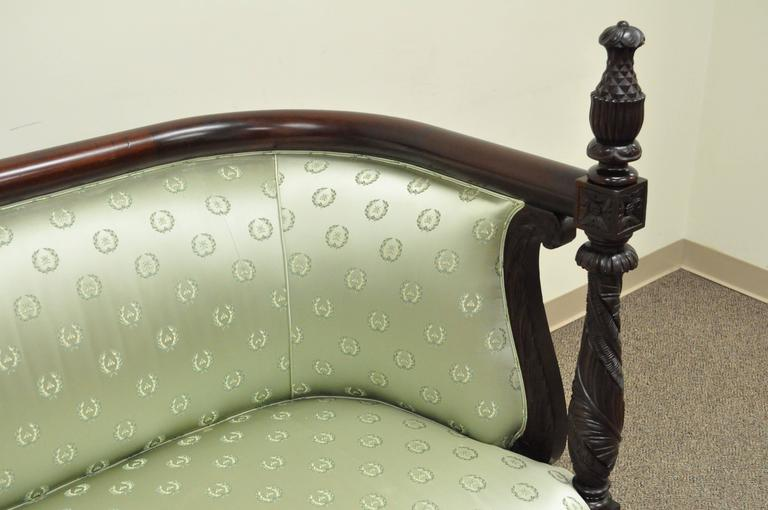 Upholstery 19th Century American Empire Curved Back Sofa Carved Solid Mahogany Pineapple For Sale
