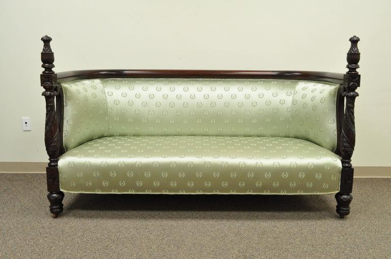 19th Century American Empire Curved Back Sofa Carved Solid Mahogany Pineapple For Sale 4
