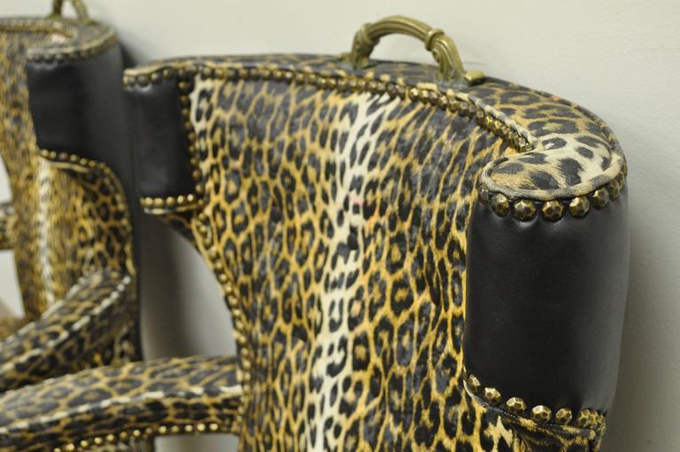 American Pair of Dorothy Draper Hollywood Regency Leopard Printed Vinyl Curved Armchairs For Sale