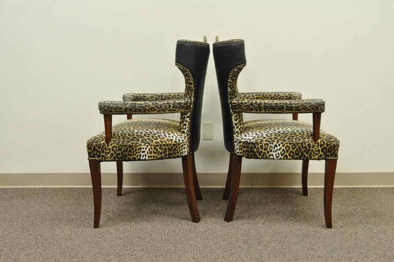 Pair of Dorothy Draper Hollywood Regency Leopard Printed Vinyl Curved Armchairs For Sale 4
