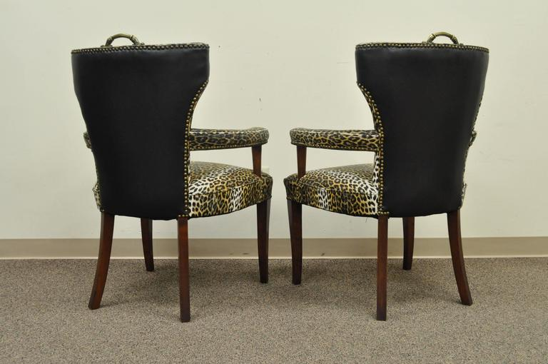 Mid-20th Century Pair of Dorothy Draper Hollywood Regency Leopard Printed Vinyl Curved Armchairs For Sale
