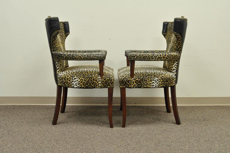 Pair of Dorothy Draper Hollywood Regency Leopard Printed Vinyl Curved Armchairs For Sale 1