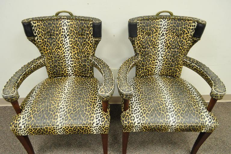 Pair of Dorothy Draper Hollywood Regency Leopard Printed Vinyl Curved Armchairs For Sale 3
